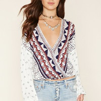 Tribal Print Surplice Top