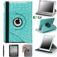 E LV Cover for iPad Mini 2 with Retina Display (7.9 inch Tablet) & iPad Mini (7.9 inch Tablet) 360 Degrees Rotating Stand Leather Smart Case Luxury Crocodile/Tribal Pattern with 1 Screen Protector, 1 Black Stylus and Microfiber Digital Cleaner (With Auto W