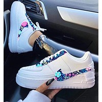 Onewel Nike Air Force 1 AF1 Women Floral Sneakers White With Purple FLower Hook Shoes