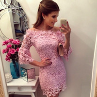 Slash Neck Lace Mini Dress in Pink or Yellow