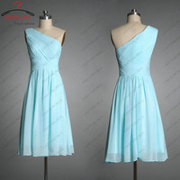 Light blue chiffon short one shoulder Junior girl party dress woman formal evening / prom/ cocktail/ pageant / bridesmaid /homecoming dress