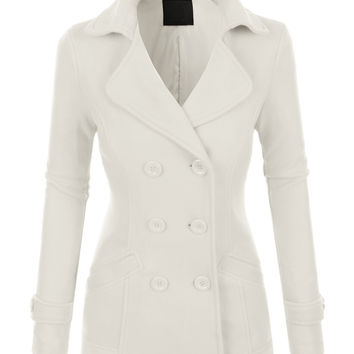 LE3NO Womens Classic Fully Lined Double Breasted Pea Coat Jacket
