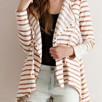 Red And White Stripe Print Lace Cuff Hooded Cardigan