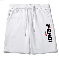 Fendi 2019 new men's and women's sports and leisure shorts white