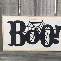 Halloween Decor / BOO Rustic Distressed Wooden Sign / Fall Vintage Sign / Fall Rustic Sign