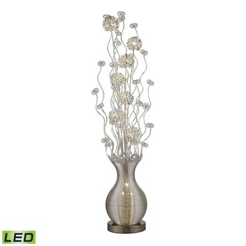Uniontown Contemporary Floral Display Floor Lamp In Silver Silver