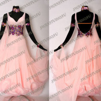 NEW SUGAR PINK GEORGETTE BALLROOM DANCE COMPETITON DRESS WB1563
