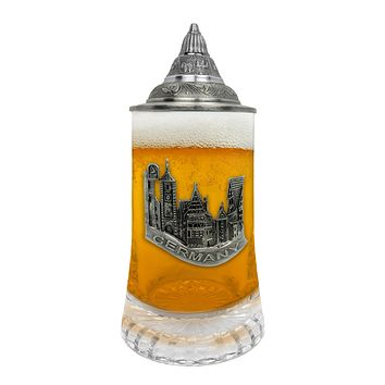 Germany Village Medallion .5L Glass Beer Stein with Lid