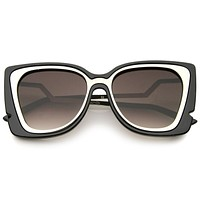Women's Oversize Notched Angled Temple Cat Eye Sunglasses A833