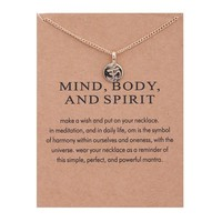 Golden Meditations Card Alloy Clavicle Pendant Necklace   171211