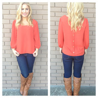 Rust Gold Button Back 3/4 Sleeve Blouse