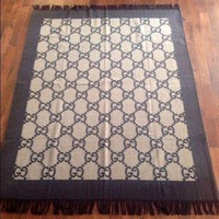 Beautiful New Authentic Gucci Cashmere Wool Blanket Throw Brown Made In Italy