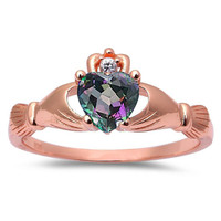Claddagh Rose Gold 925 Sterling Silver Mystic Rainbow Topaz Diamond Accent Promise Wedding Engagement Anniversary Fidelity Ring Love Gift