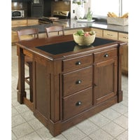 Home Styles Furniture 5520-9459 Aspen Rustic Cherry Granite Top Kitchen Island w/ Hidden Drop Leaf Support and Two Bar Stools