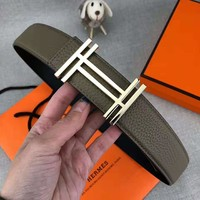 Hermes Classic Popular Woman Men Stylish H Letter Smooth Buckle Belt Leather Belt