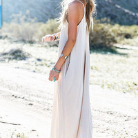 White Spaghetti Strap V-Neck Maxi Dress