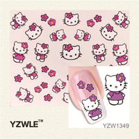 YZWLE 1 Sheet New Fashion Lovely Cute Cat DIY Water Transfer Nail Art Stickers Decals Wraps Salon Beauty Manicure Styling Tools