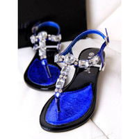Big Rhinestone T Shape Flat Sandals for Women
