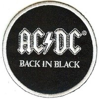 AC/DC Iron-On Patch Round Back In Black Logo