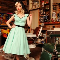 Heidi Dress in Cool Mint with Black Trim   Pinup Girl Clothing