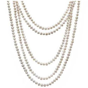Fresh Water Pearl, 100 inch Long and Wrap around neck Necklace in 7/8 mm Round Pearls - Color: Black