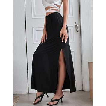 Elastic Waist Split Side Skirt