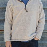TRUE GRIT Sueded Soft Sherpa 1/2 Zip Pullover- Ivory