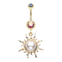 Radiant Blazing Sun Belly Button Ring Navel Ring Body Jewelry