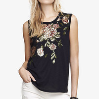 BLACK SEQUIN ROSE MUSCLE TANK from EXPRESS
