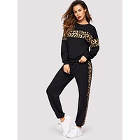 SHEIN Leopard Panel Pullover and Sweatpants Set