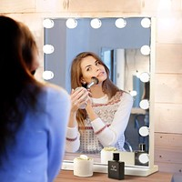 Hansong Large Vanity Makeup Mirror with Lights,Hollywood Lighted Dressing Tabletop Mirror or Wall Mounted Beauty Mirrors with 15 pcs Led Bulbs,Detachable 10X Magnification Spot Cosmetic Mirror White