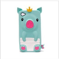 Cute Pig Animal Silicone Case for iPhone 4/4S - Turquoise