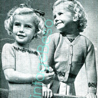 Knitted Twin Set with Fair Isle Bands 5 to 6 years old 3-ply - Vintage 1940s KNITTING PATTERN Bestway 2133 - Pdf Pattern - INSTANT Download