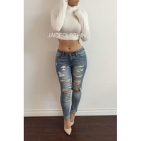 IVORY Turtleneck Crop Top - Jaide Clothing