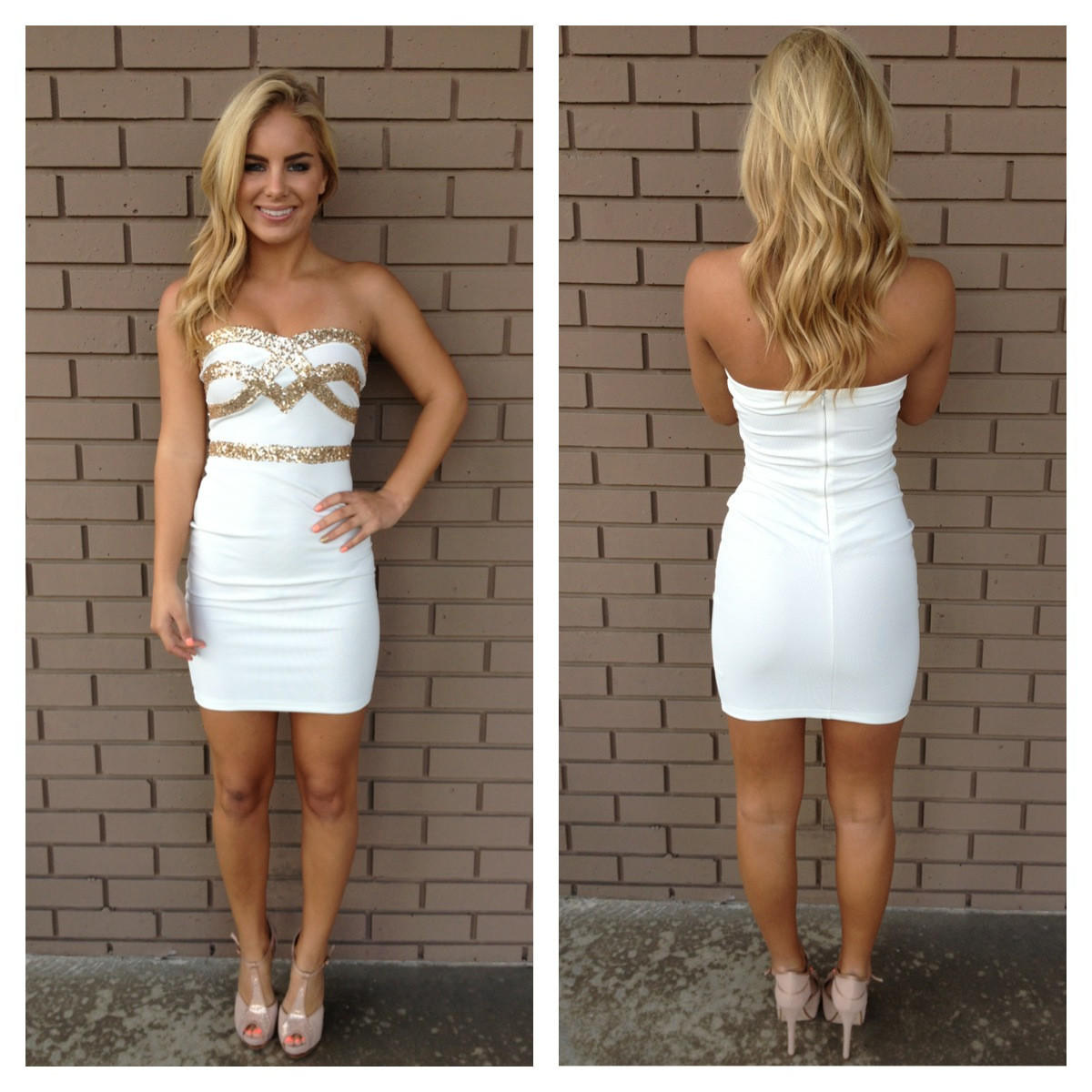 Image of White Strapless Sequin Getaway Holiday Dress