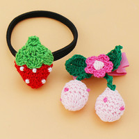 Cute Knited Baby infant hair clips Hair Ties Cherry Strawberry baby hair accessories
