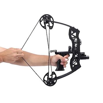 16inch Archery Mini Compound Bow Set 35lbs 23inch Aluminum Arrow Bowfishing Hunting Right Left Hand Shooting Accessories