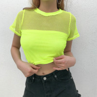 Sexy Fluorescent Yellow Grid Perspective Short Sleeve T-Shirt Top [3857640095841]