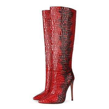Women Red Snakeskin Pointed Toe High Heel Knee High Boots