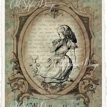 ALICE in Wonderland Quote Art Print on Handmade Paper. Shabby Chic Decor. Vintage Style Alice Wall Art. Altered Book Illustration. Code:A013