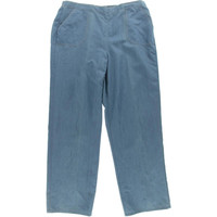 Alfred Dunner Womens Chambray Flat Front Casual Pants