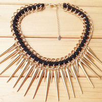 Gold Spiky Bib Necklace,Cool Girls Rivit Choker,Punk Rock Style Cluster Necklace for Women,Teen Girls