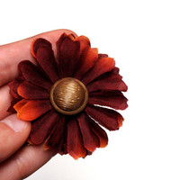 """Burgundy Hair Flower, Vintage Gold Button Hair Accessory, Orange Tipped Wine Flower Bobby Pin, Mum Hair Clip - """"I Wanna Be Lazy with You"""""""