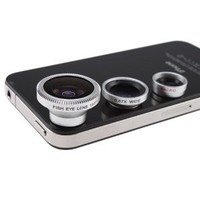 3 in 1 Camera Lens Kit Designed for Apple iPhone 4 4S iPad (Fish Eye Lens, Wide Angle + Micro Lens): Cell Phones & Accessories