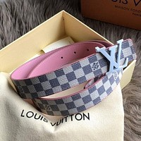 Louis Vuitton LV Women Classic Fashion Smooth Buckle Leather Belt