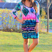 Modern Beauty Tribal Pattern Dress in Teal/Fuchsia/Black