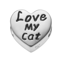 Hsus Sterling Silver ''Love My Cat'' Heart Bead (Black/Silver)