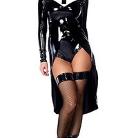 Nun Like Me Black White Vinyl Long Sleeve Split Front Mini Dress Nun Costume