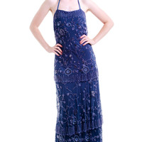 Vintage Daisy Buchanan Beaded Beauty Maxi Dress - S