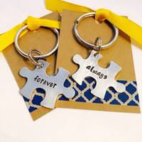 Forever and Always - Couple's Keychain Set - Matching Keychain - Puzzle Pieces